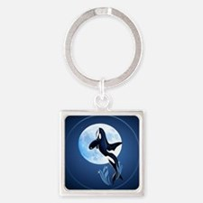 Leaping Orca and Moon-circle Square Keychain