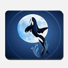 Leaping Orca and Moon-circle Mousepad