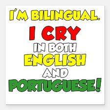 "Bilingual English and Po Square Car Magnet 3"" x 3"""