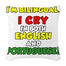Bilingual English and Portugue Woven Throw Pillow