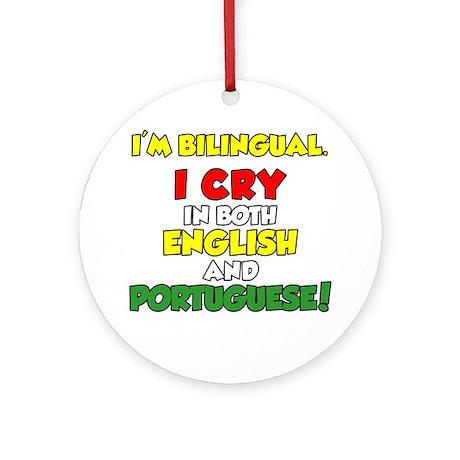 Bilingual English and Portuguese Round Ornament