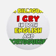 Bilingual English and Portuguese Round Ornament
