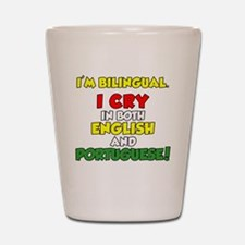 Bilingual English and Portuguese Shot Glass