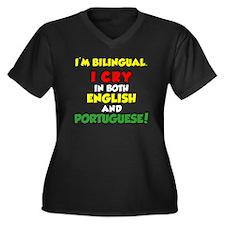 Bilingual En Women's Plus Size Dark V-Neck T-Shirt