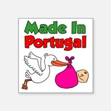 "Made In Portugal Girl Square Sticker 3"" x 3"""