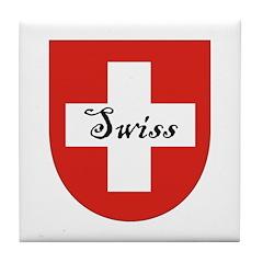 Swiss Flag Crest Shield Tile Coaster