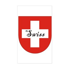 Swiss Flag Crest Shield Rectangle Decal