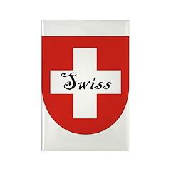 Swiss Flag Crest Shield Rectangle Magnet (100 pack