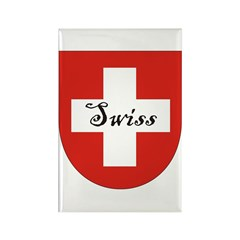 Swiss Flag Crest Shield Rectangle Magnet (100 pack