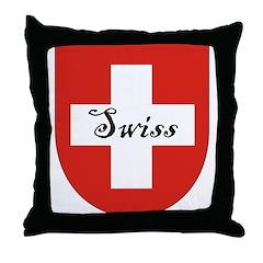 Swiss Flag Crest Shield Throw Pillow