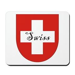 Swiss Flag Crest Shield Mousepad