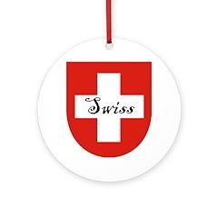 Swiss Flag Crest Shield Ornament (Round)