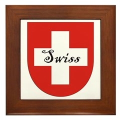 Swiss Flag Crest Shield Framed Tile