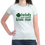 Irish You Would Kiss Me Jr. Ringer T-Shirt