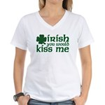 Irish You Would Kiss Me Women's V-Neck T-Shirt