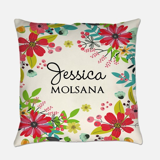 Painted Floral Personalized Monogr Everyday Pillow