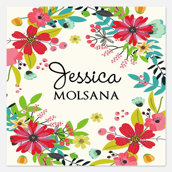 Painted Floral Personalized Invitations