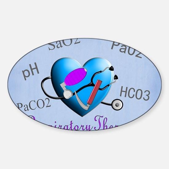 rt print 2 blue Sticker (Oval)