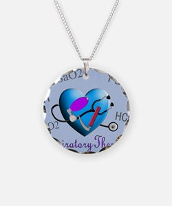 rt print 2 blue Necklace Circle Charm