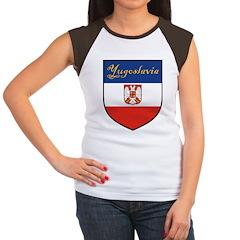 Yugoslavia Flag Crest Shield Women's Cap Sleeve T-