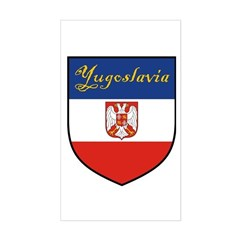 Yugoslavia Flag Crest Shield Rectangle Sticker