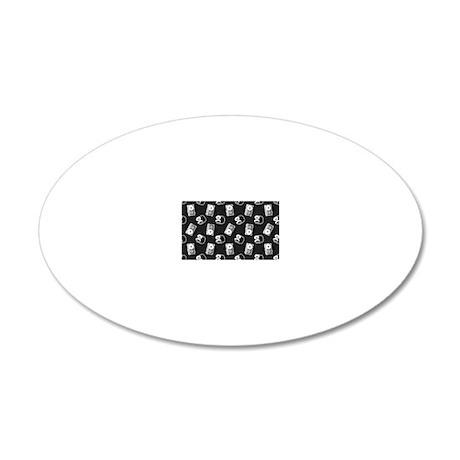 Headphone Tape Polka Dot Clu 20x12 Oval Wall Decal
