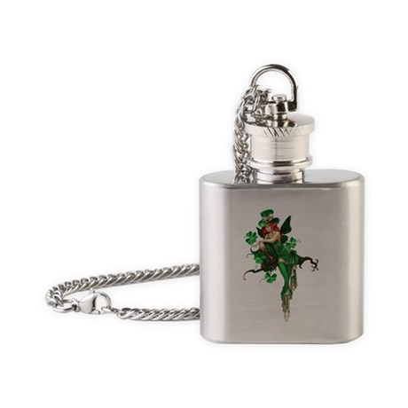 St patricks Day Fairy 02 Flask Necklace