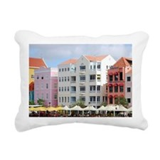 Colorful waterfront shop Rectangular Canvas Pillow