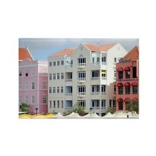 Colorful waterfront shopping and  Rectangle Magnet