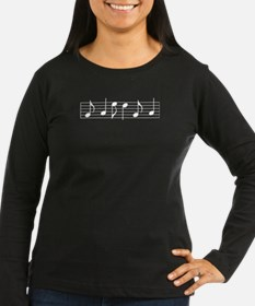 White Notes & Staff Women's L-S Dark T-Shirt
