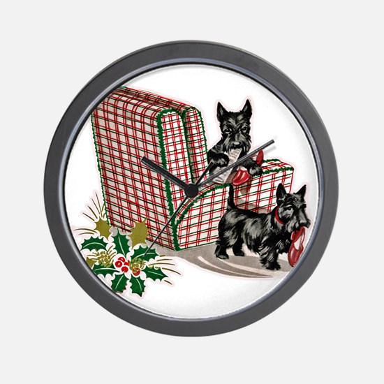 Scottish Terrier Christmas Wall Clock