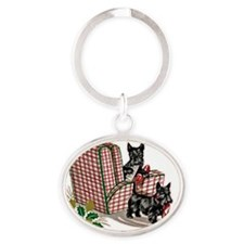 Scottish Terrier Christmas Oval Keychain
