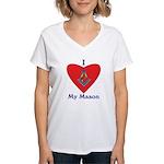 Masonic I Love My Mason Women's V-Neck T-Shirt