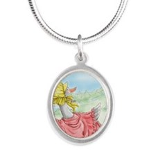 MotherGoose_iPadSleeve Silver Oval Necklace