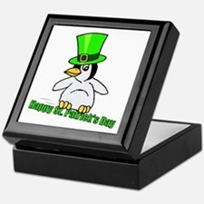 St. Patrick's Day Penguin Keepsake Box