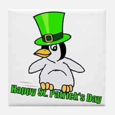 St. Patrick's Day Penguin Tile Coaster
