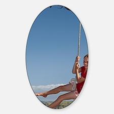 Girl on rope swing, Oakura Bay, Nor Decal