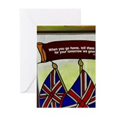 Union Jack flags in stained glass wi Greeting Card