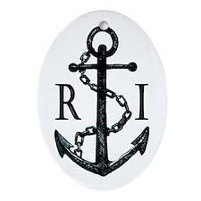 Rhode Island Anchor Ornament (Oval)