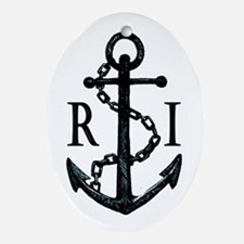 Rhode Island Anchor Ornament (Oval)