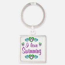 swimming Square Keychain