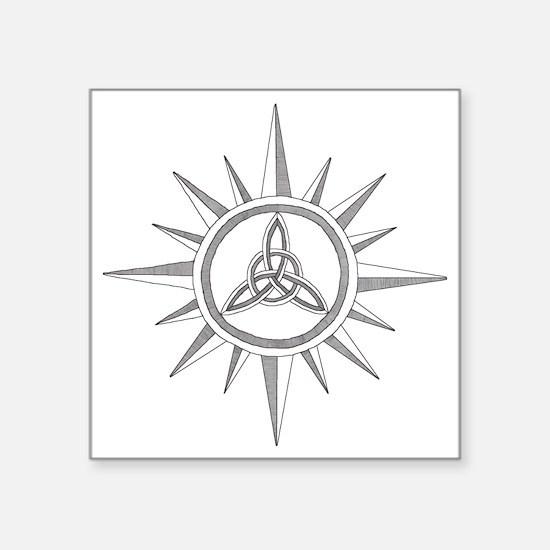 "Triquetra Compass close Square Sticker 3"" x 3"""