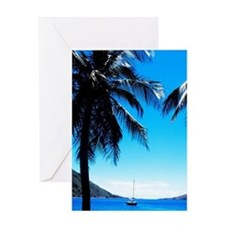 Graphic palms and boats in Soufriere Greeting Card