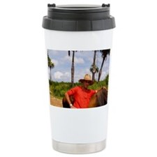 Farmer with oxen in tobacco fie Travel Mug