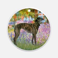 R-Garden-Greyhound-brindle Round Ornament