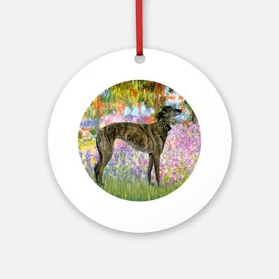 R-Garden-Greyhound-brindle Round Ornament
