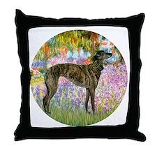 R-Garden-Greyhound-brindle Throw Pillow
