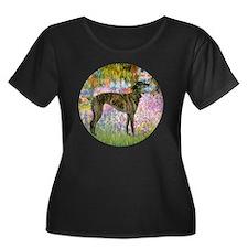 R-Garden Women's Plus Size Dark Scoop Neck T-Shirt