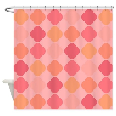 Peach Colored Qua Trefoil Shower Curtain by fan2fan