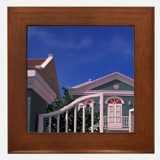 Curacao Colorful buildings and detail  Framed Tile